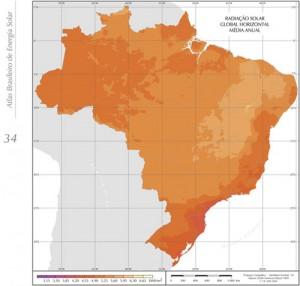 Mapa de irradiação solar do Brasil